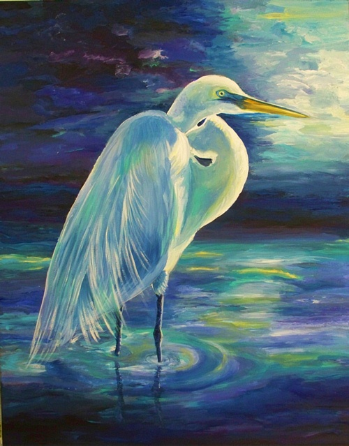 Acrylic Painting Crane Moonlight