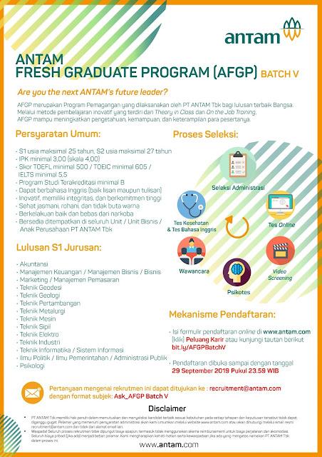 Informasi lowongan kerja terbaru bulan September kali ini berasal dari PT ANTAM Tbk Lowongan Kerja ANTAM - Antam Fresh Graduate Program (AFGP) Batch V