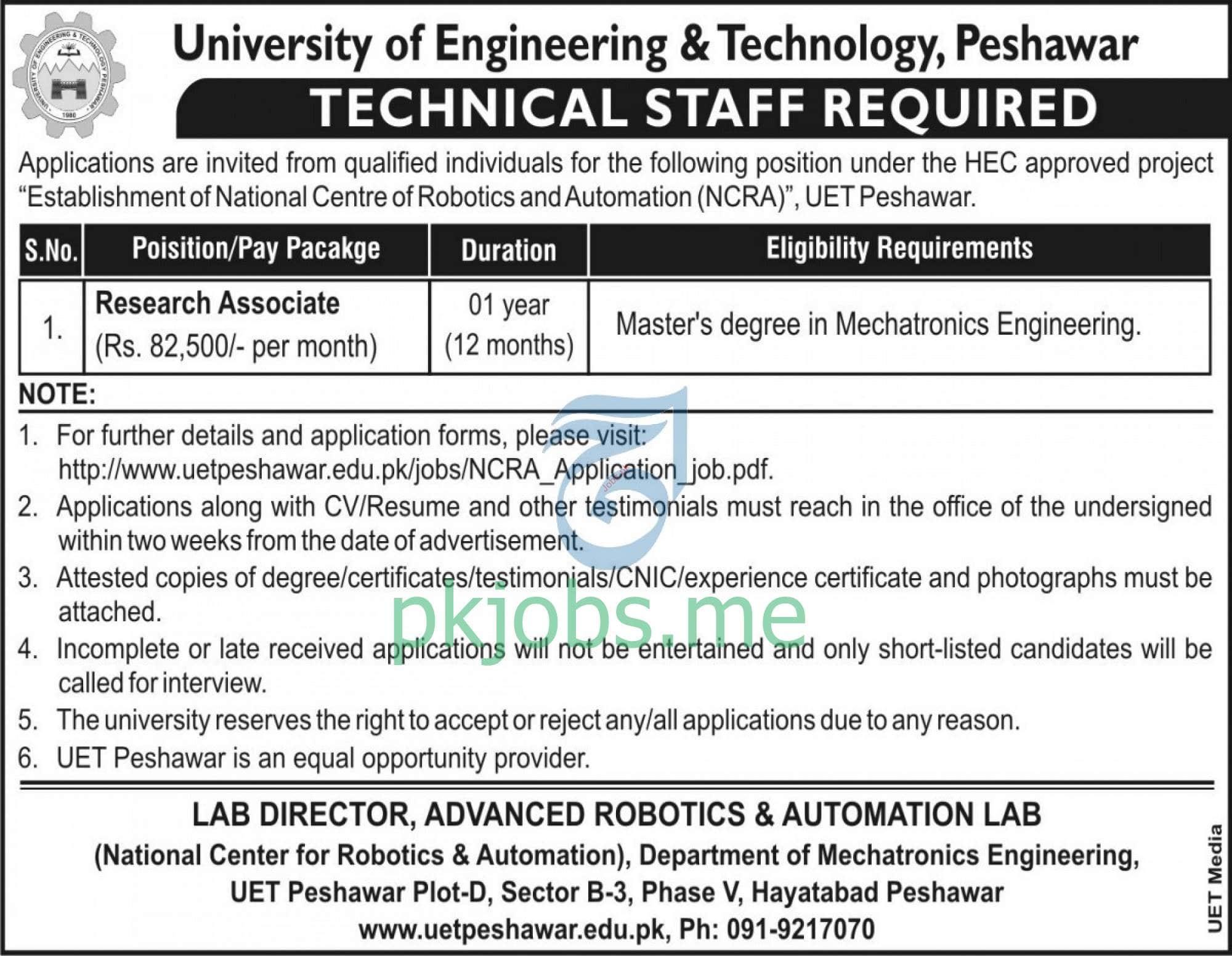 Latest University of Engineering & Technology UET Posts 2021