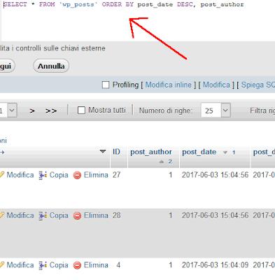 Come ordinare risultati tabella MySql