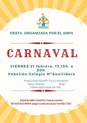 Cartel Carnaval colegio Salesianas Zaragoza