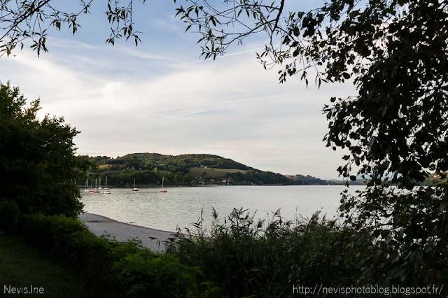Photo lac de Paladru, bateaux encadrés de buissons