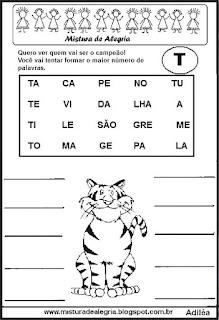 Formar palavras com a letra t