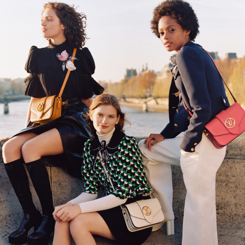 Signe Veiteberg, Caroline Reuter and Londone Myers star in Louis Vuitton LV Pont 9 handbag campaign.