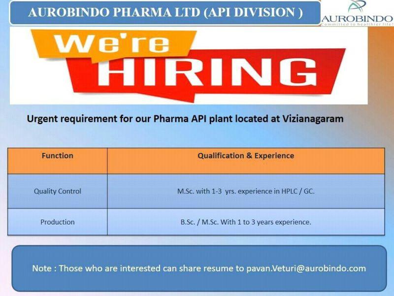 B.Sc And M.Sc Candidates Jobs Vacancy In Aurobindo Pharma Ltd in Vizianagaram, Andhra Pradesh