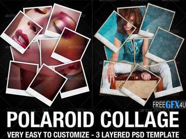 Polaroid Collage Photo PSD Template