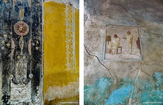 Afrescos romanos no Sítio Arqueológico de Pompeia