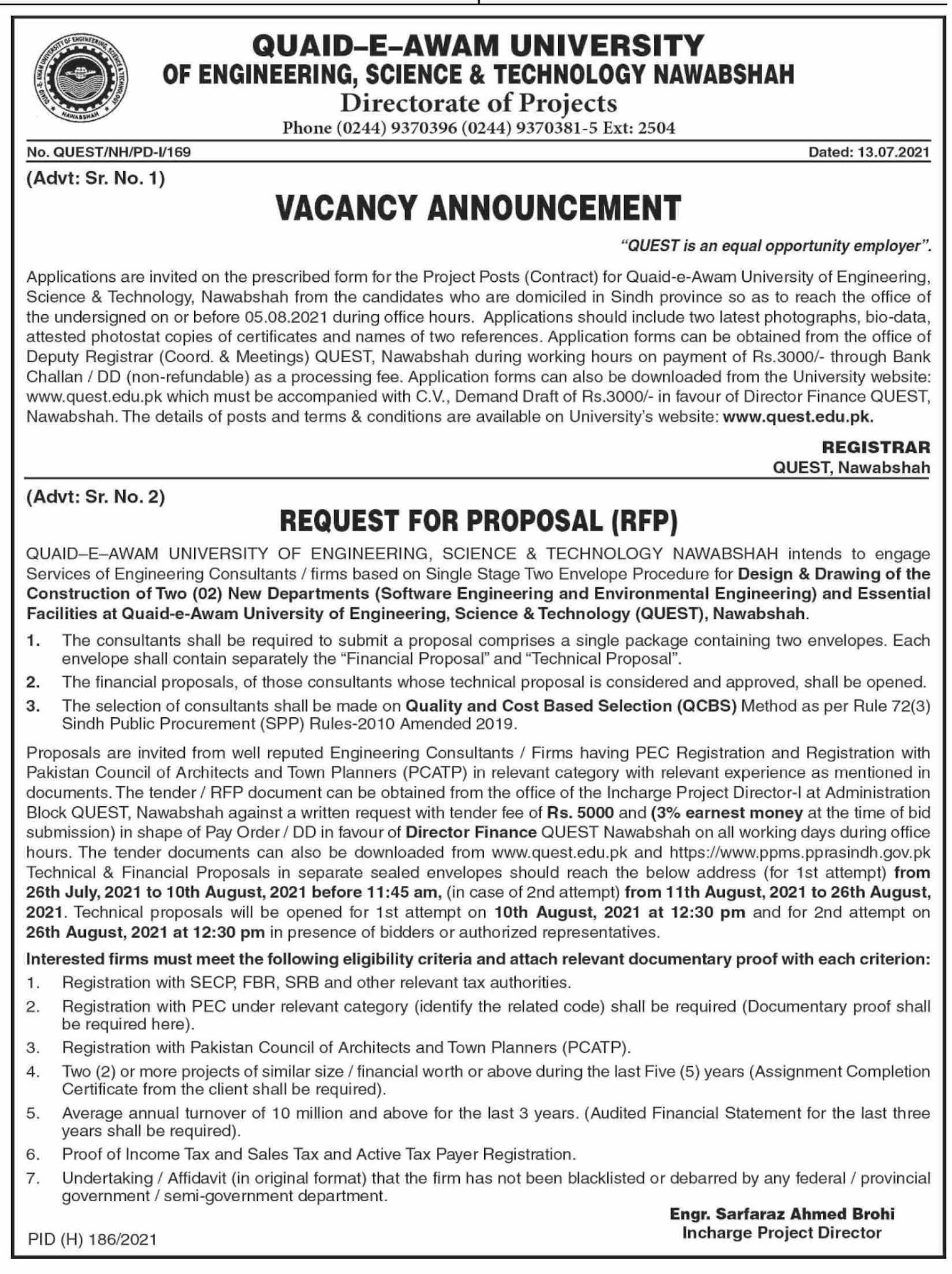 Jobs in Quaid e Azam University of Engineering Science and Technology