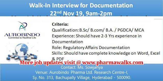 Aurobindo Pharma walk-in interview for Documentation on 22nd Nov' 2019 @ Hyderabad