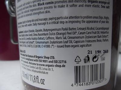 Organic Shop - Čierny kmín - Výkonný telový peeling zloženie