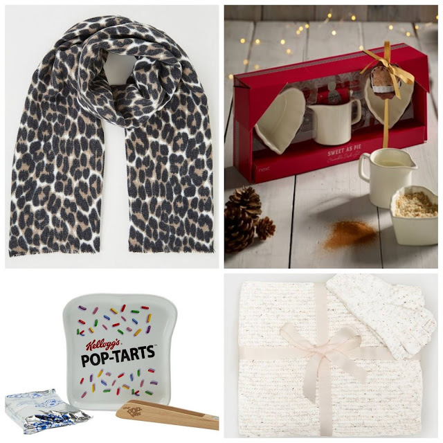 collage - New Look leopard scarf, Next Crumble Dish, Kellogg's Pop Tarts plate, New Look Cream Scarf & Gloves
