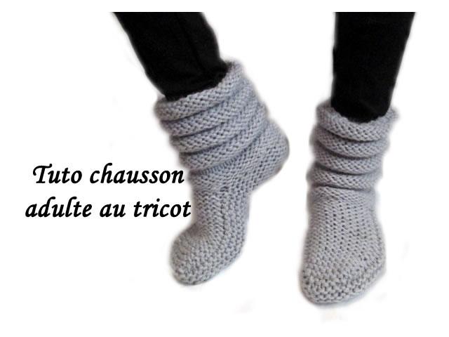 chausson en laine a tricoter
