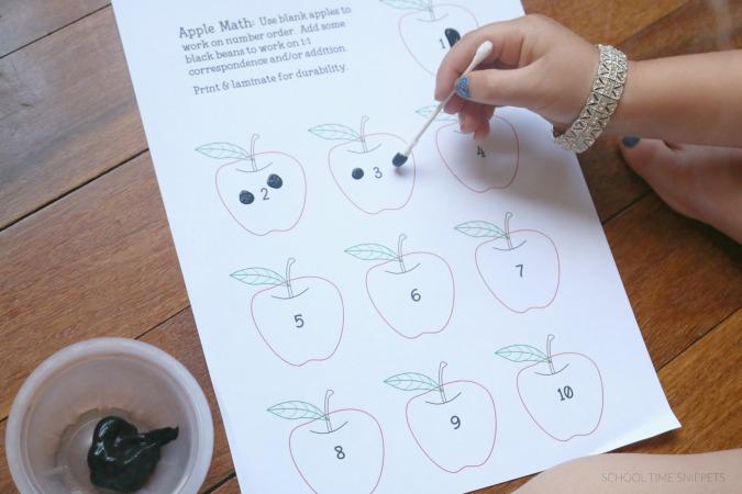 preschool apple math printable