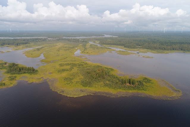 Dronekuvaa saarista ja jokisuistosta, mantereella tuulivoimaloita