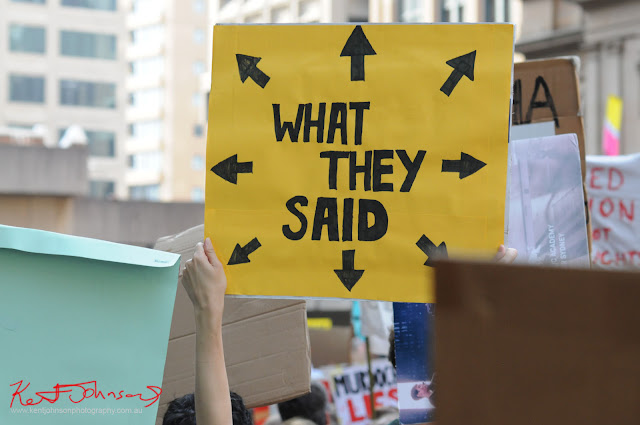 Sydney Climate Rally - Sign pointing to all other signs - 'What They Said'