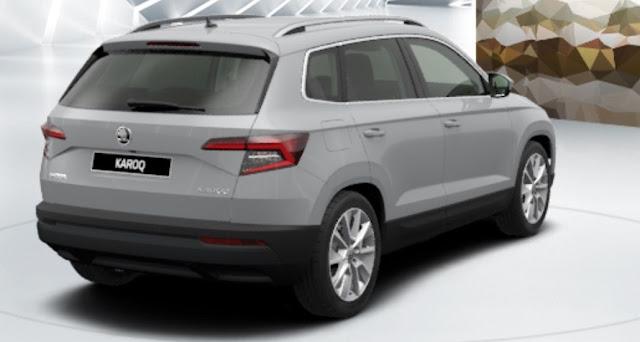 skoda karoq colore grigio acciaio vista posteriore laterale 3