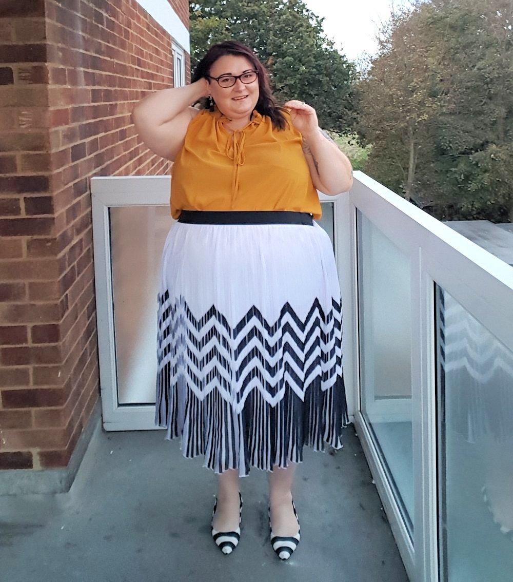 Dorothy Perkins Curve Ochre Ruffle Neck Tie Top plus size mustard blouse // www.xloveleahx.co.uk