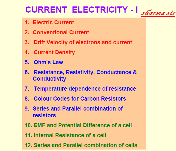 current electricity,conventional current,drift velocity,current density,ohm law,combination of resistance,, current electricity,scceducation,physics,