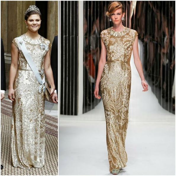 Crown Princess Victoria wears Jenny Packham Gown