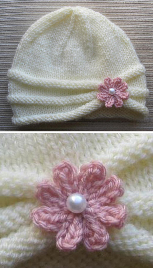 Rolled Brim Hat for a Girl - Knitting Pattern
