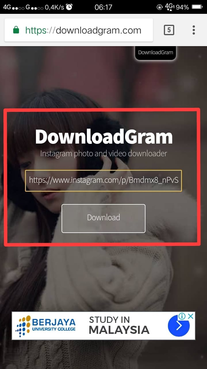 Madison : Cara download video instagram private