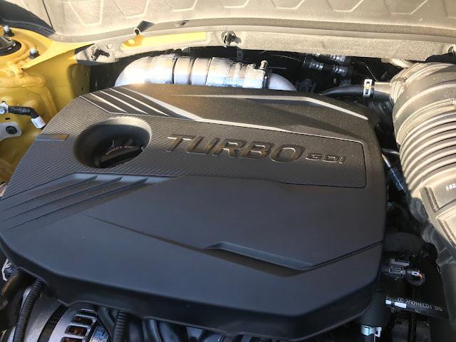 Engine detail in 2021 Kia Seltos SX Turbo AWD