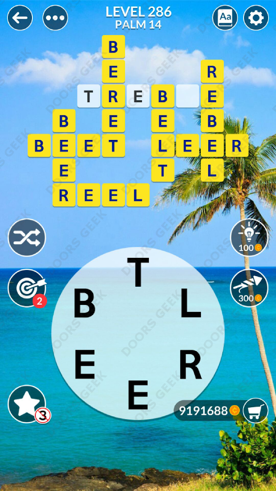 Wordscapes Level 286 answers, cheats, solution for android and ios devices.