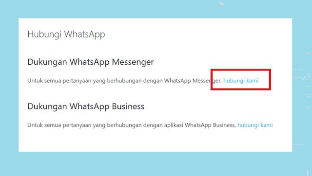 Tekan Hubungi Kami di Dukungan WhatsApp Messenger