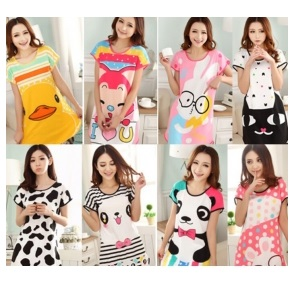 Baju Tidur Dewasa Perempuan Comel Cute Corak Kartun Lady Pajamas Dcp 0056