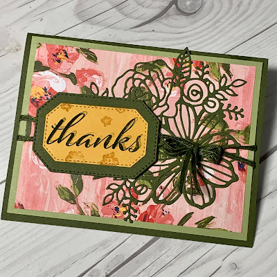 Thank you card using the Stampin' Up! Artistically Inked Stamp set and coordinating Artistic Dies