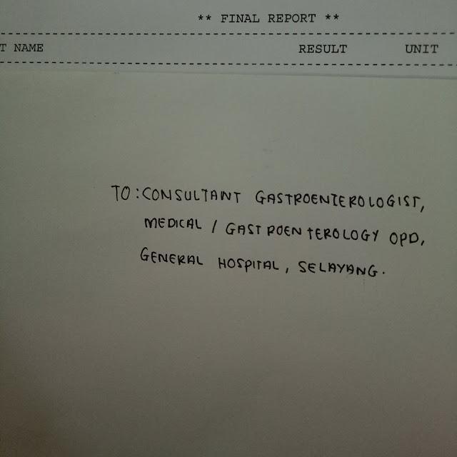 surat REFER kepada doktor pakar Gastro di Hospital Selayang