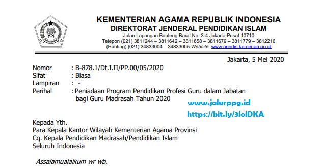 Peniadaan Program PPG dalam Jabatan bagi Guru Madrasah Tahun 2020 jalurppg.id