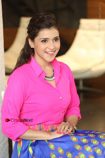 Actress Mannar Chopra in Pink Top and Blue Skirt at Rogue movie Interview  0178.JPG
