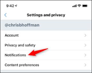 فتح خيارات إعلام Twitter في تطبيق الجوال