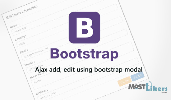 Ajax add, edit, delete records in database using bootstrap