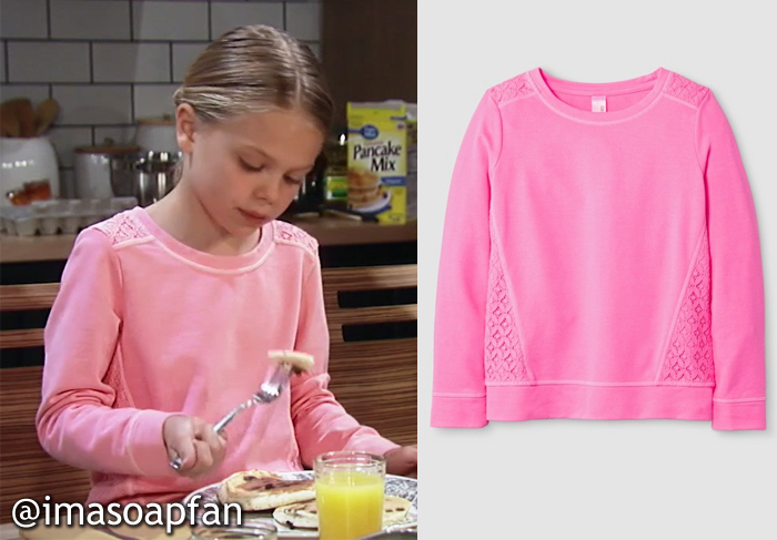 Charlotte Cassadine, Scarlett Fernandez, Pink Sweatshirt with Lace Trim, Cat & Jack, GH, General Hospital, Season 55, Episode 05/18/17