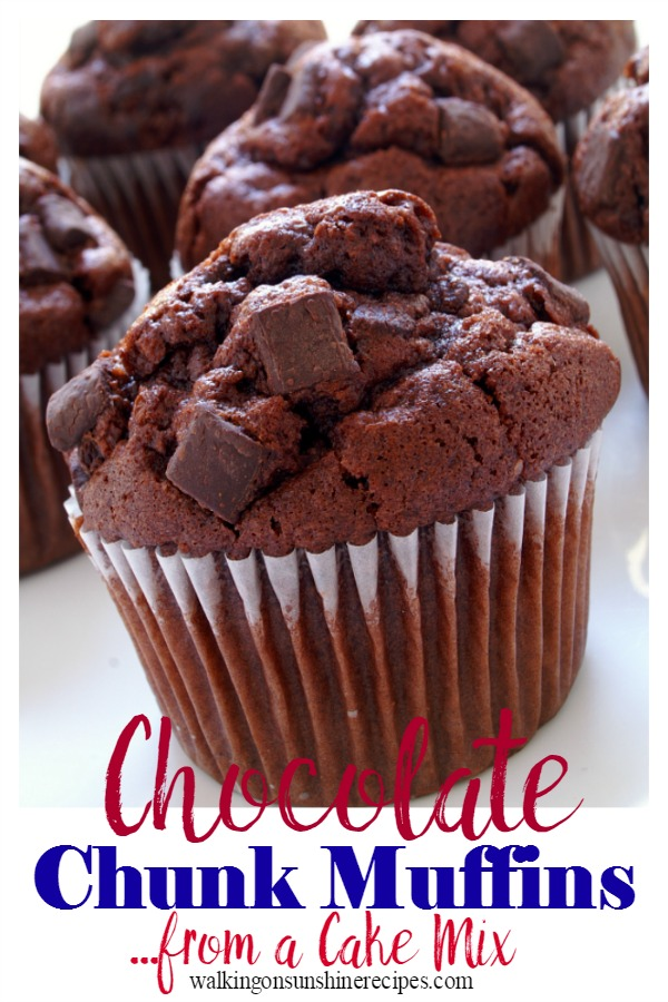 Chocolate chunk muffins for breakfast.