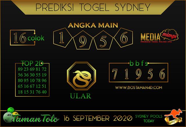 Prediksi Togel SYDNEY TAMAN TOTO 16 SEPTEMBER 2020