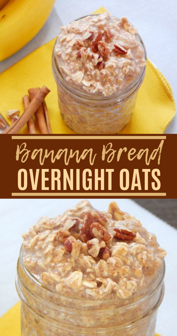 Banana Bread Overnight Oats #Healthy #Breakfast