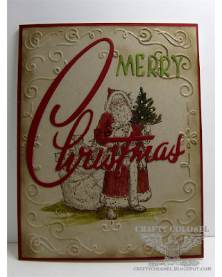 CraftyColonel Donna Nuce for Cards in Envy Santa Baby challenge.  StampinUp, Tim Holtz Sizzix