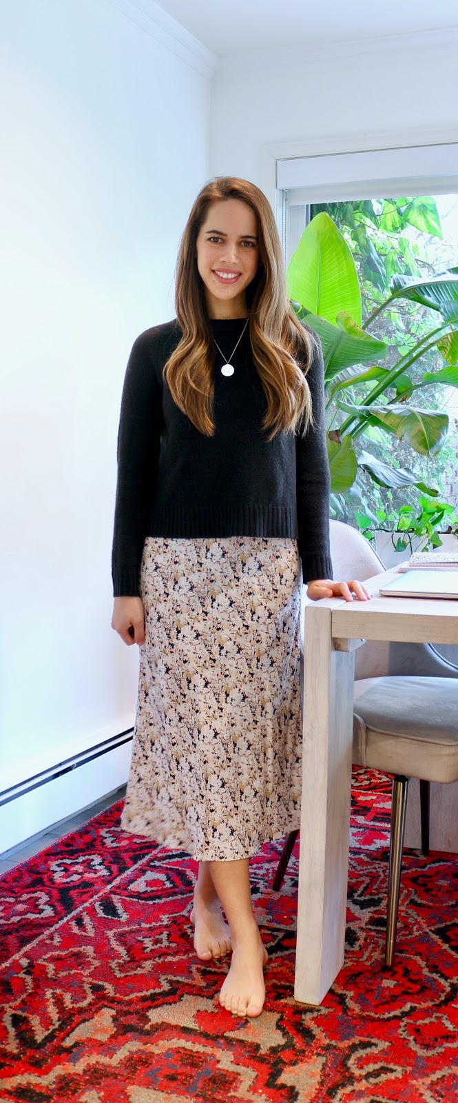 Jules in Flats - Floral Midi Skirt (Easy Work from Home Outfit)