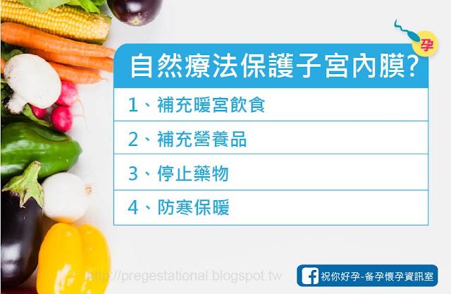 暖宮飲食,補充精氨酸、維他命E、黑豆水、DHEA,婷用排卵藥