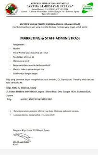 Loker Marketing dan Staff Admin di Jepara