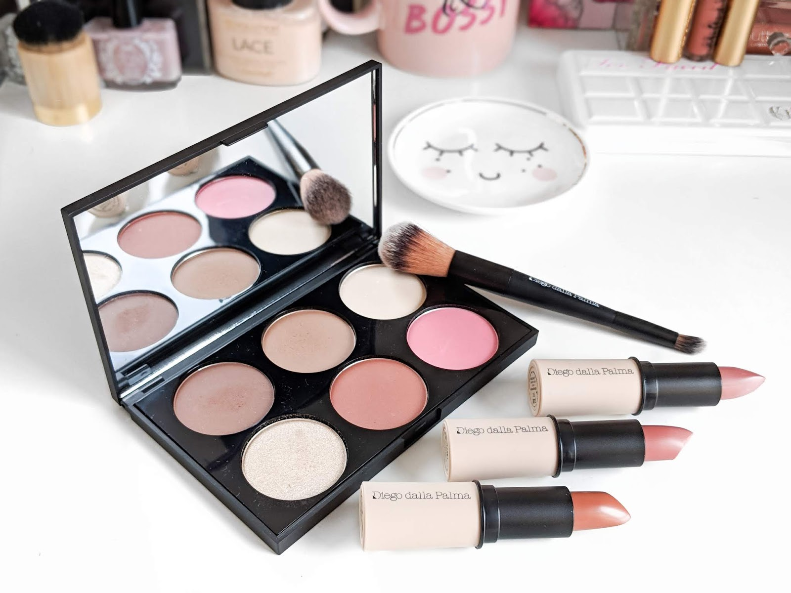 Image showing the Diego Dalla Palma Full Face Palette and three Nudissimo Lipsticks