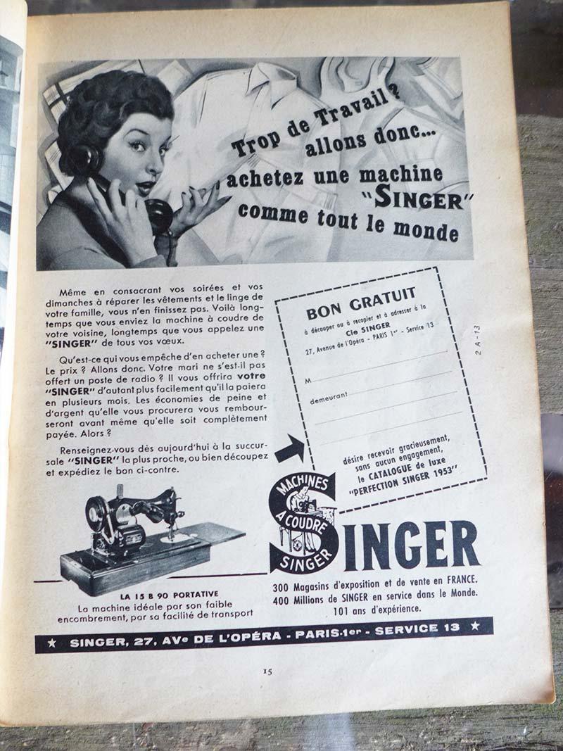 Ancienne publicité pour la marque singer