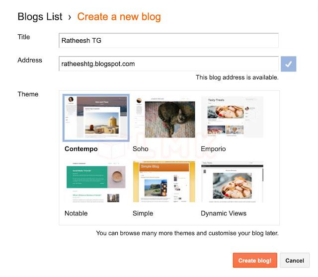 create blogger address