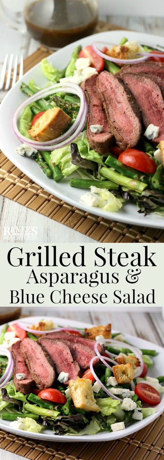 Grilled Steak, Asparagus, and Blue Cheese Salad | Renee's Kitchen Adventures - easy main course salad recipe for steak, fresh asparagus, blue cheese, tomatoes, red onions, and ciabatta croutons. Perfect spring dinner recipe.