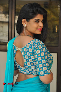 Telugu Actress Alekhya Stills in Green Saree at Swachh Hyderabad Cricket Press Meet  0015.JPG