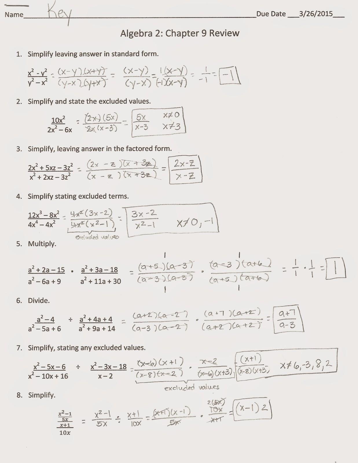 Algebra Alerts Algebra 1 And 2 Algebra 2 Chapter 9