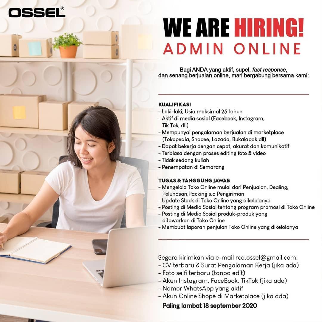 Mesin Ossel Semarang Membuka Kesempatan Kerja Sebagai Admin Online